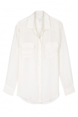 Blusa blanca con bolsillos
