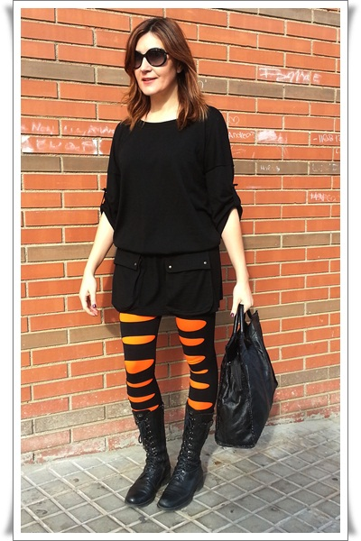 Black & Orange Tights street style