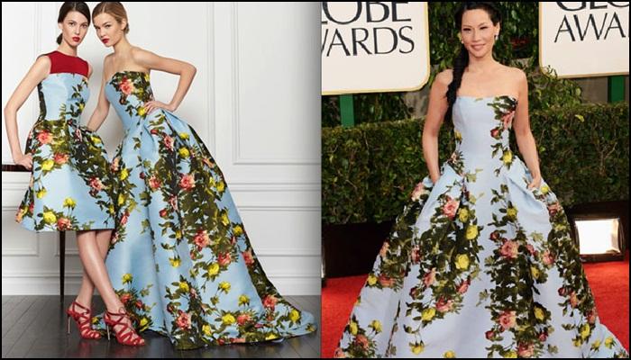 Lucy Liu de Carolina Herrera en los Golden Globes