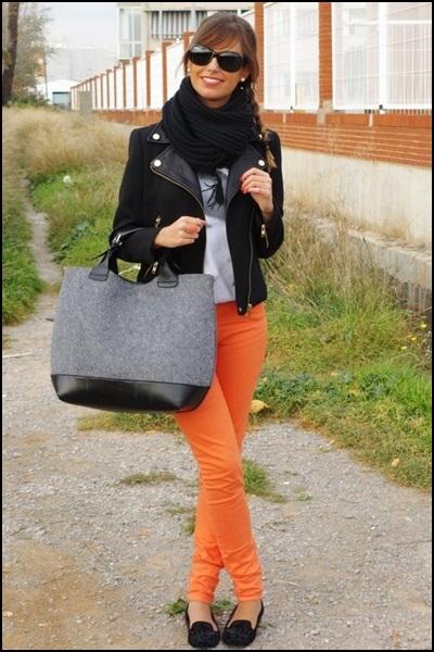 Street style orange + basics