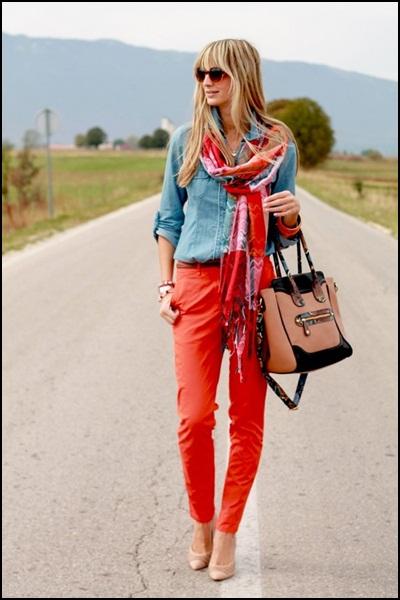 street style orange + denim