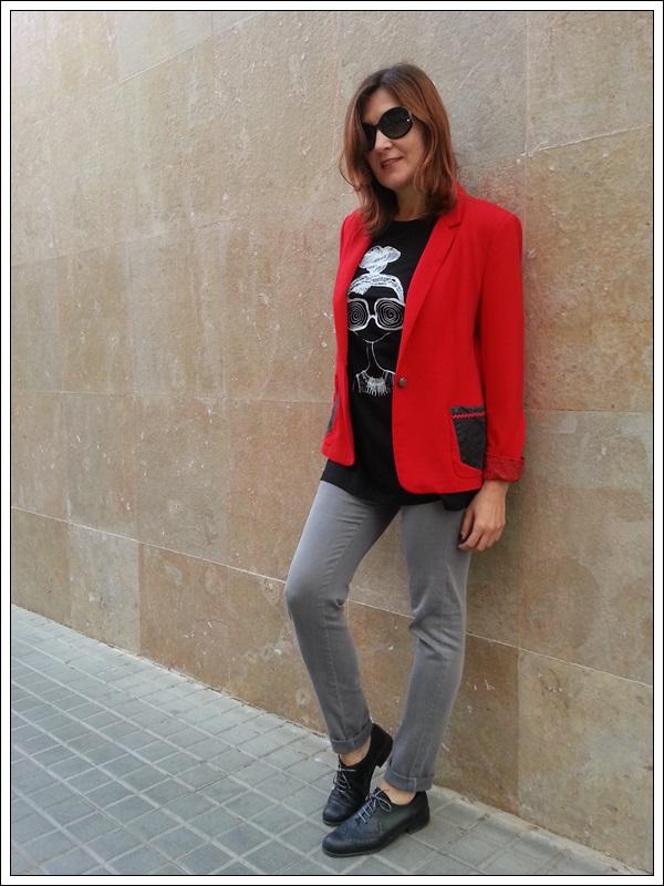 Blazer rojo ZARA_customizado