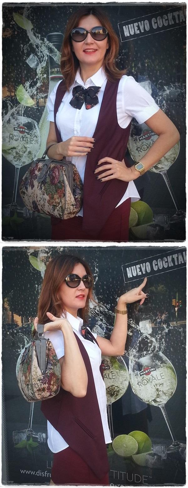 Martini girl - On the bus stop - Street Style - Falda Silvian Heich , Bolso Misako, chaleco Polca, camisa Amichi