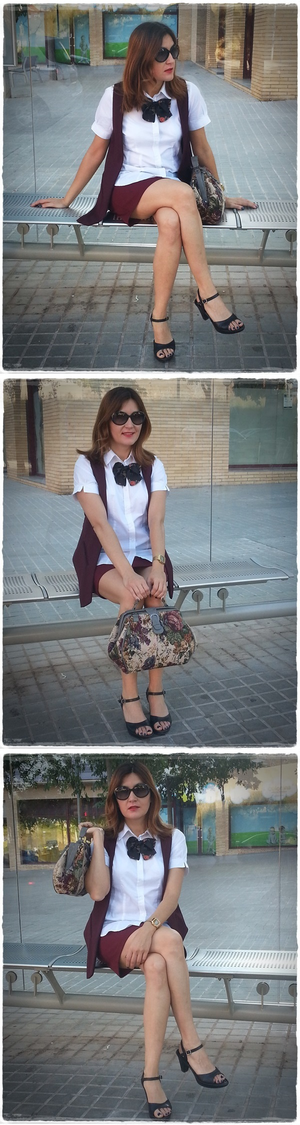 Waiting for the bus - Street style, On the bus stop - Street Style - Falda Silvian Heich , Bolso Misako, chaleco Polca, camisa Amichi