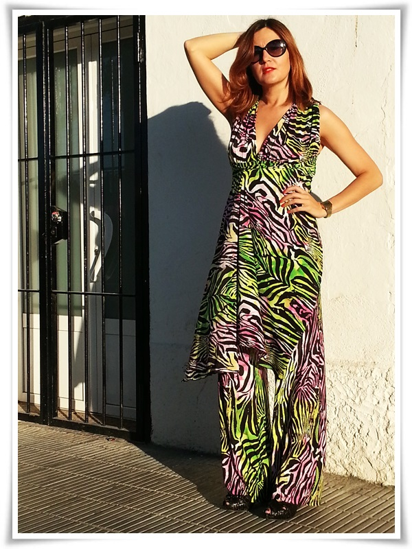 Dungaree tropical Cha de Cores, zapatos Pons Quintana, Gafas Vogue