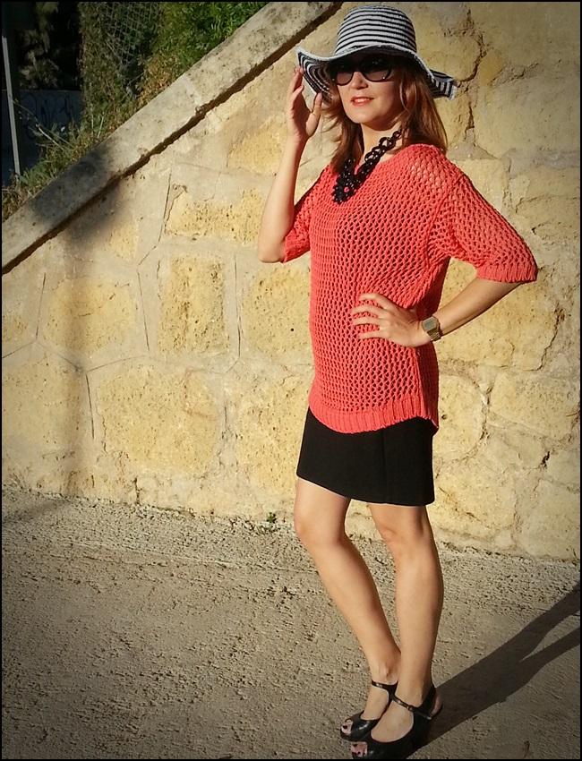 Jersey Cha de cores, falda Silvian Heach, zapatos Purificación garcia, beach street style