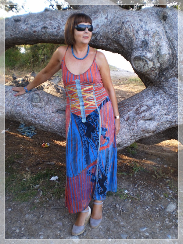 Boho style, long summer dress, cuñas Traditional, accesories from Thailand