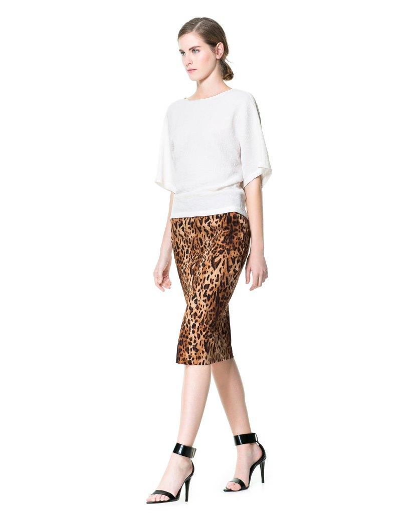 print animal pencil skirt zara 29,95