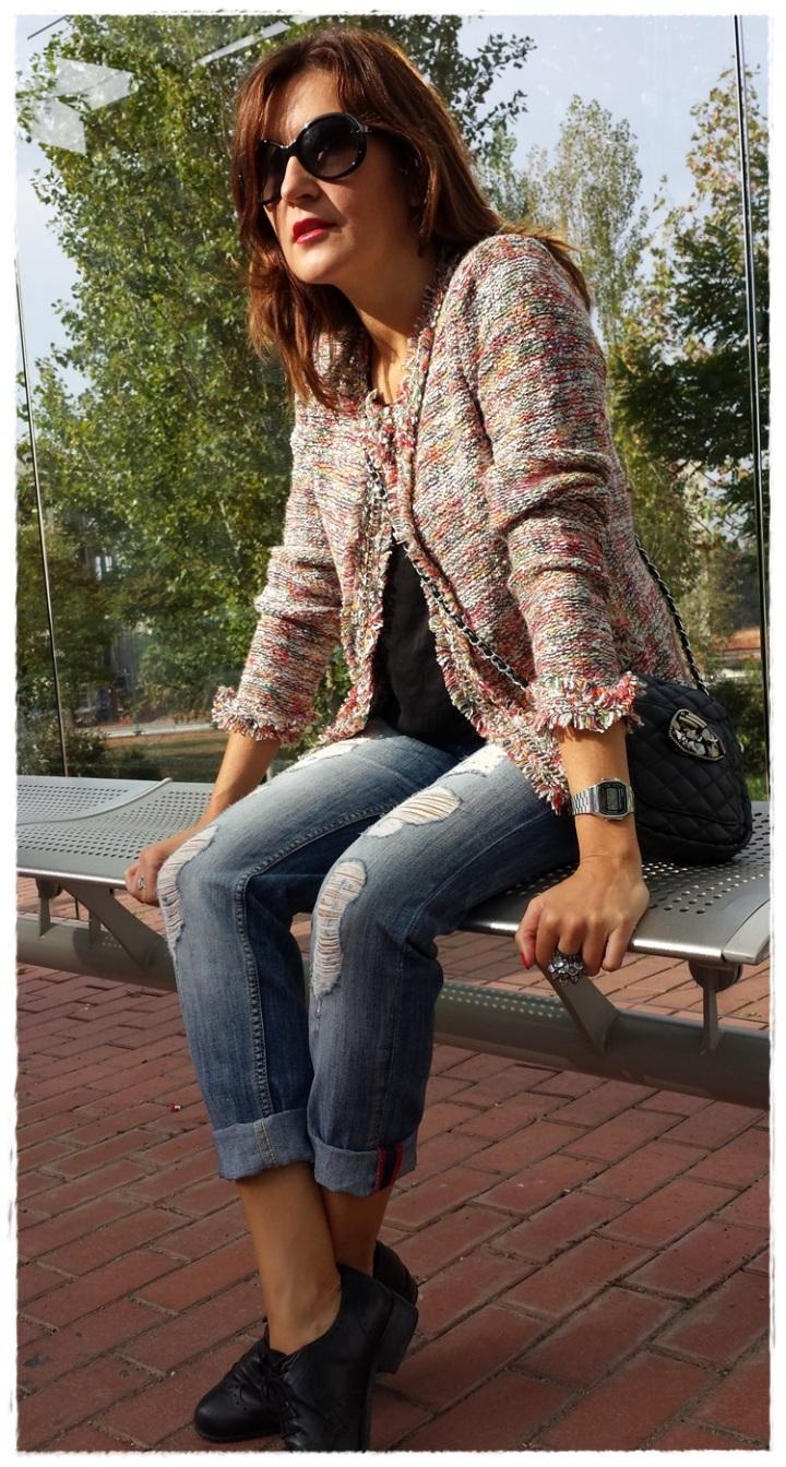 Cuidatuimagen; Copia el look, Clémence Poésy, look Tomboy, pantalones Mango, Camiseta raso Stradivarius, chaqueta local shop Tarragona, zapatos Sita Murt, bolso Local shop Tarragona (3)