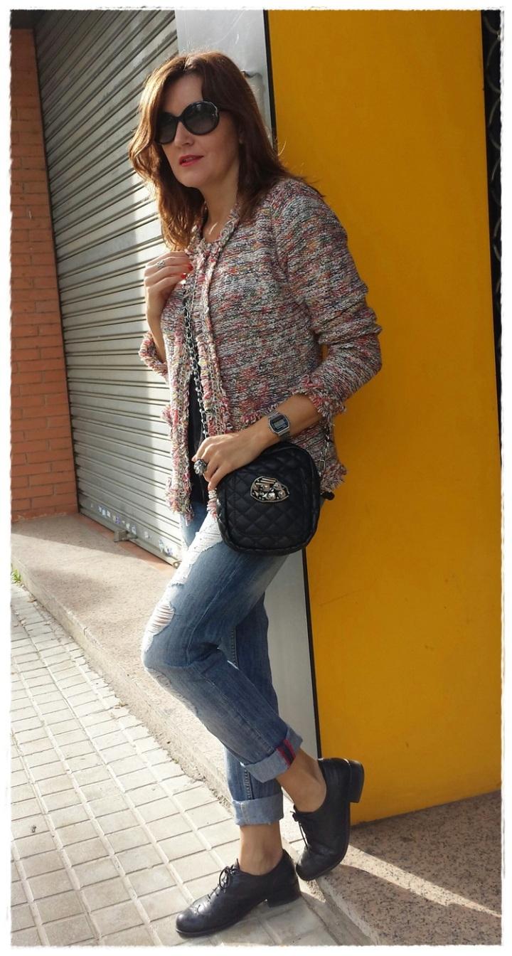 Cuidatuimagen; Copia el look, Clémence Poésy, look Tomboy, pantalones Mango, Camiseta raso Stradivarius, chaqueta local shop Tarragona, zapatos Sita Murt, bolso Local shop Tarragona (5)