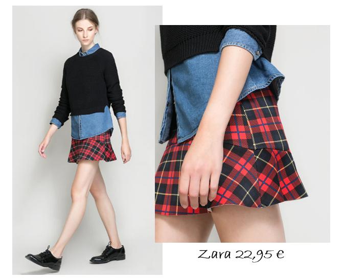 falda zara, pephem escocesa