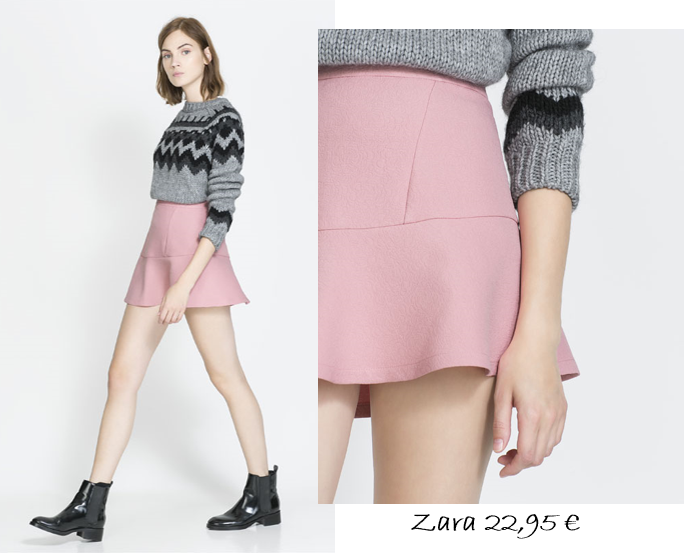 falda zara, pephem, falda rosa