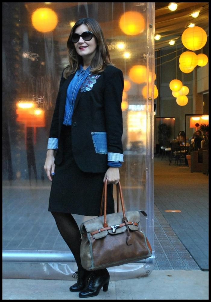 Cuida de ti, cuida tu imagen, corporate look, falda Naf Naf, Camisa tejana Stradivarius, Blazer Zara, zapatos To Be, jardines Hotel Gallery (2)