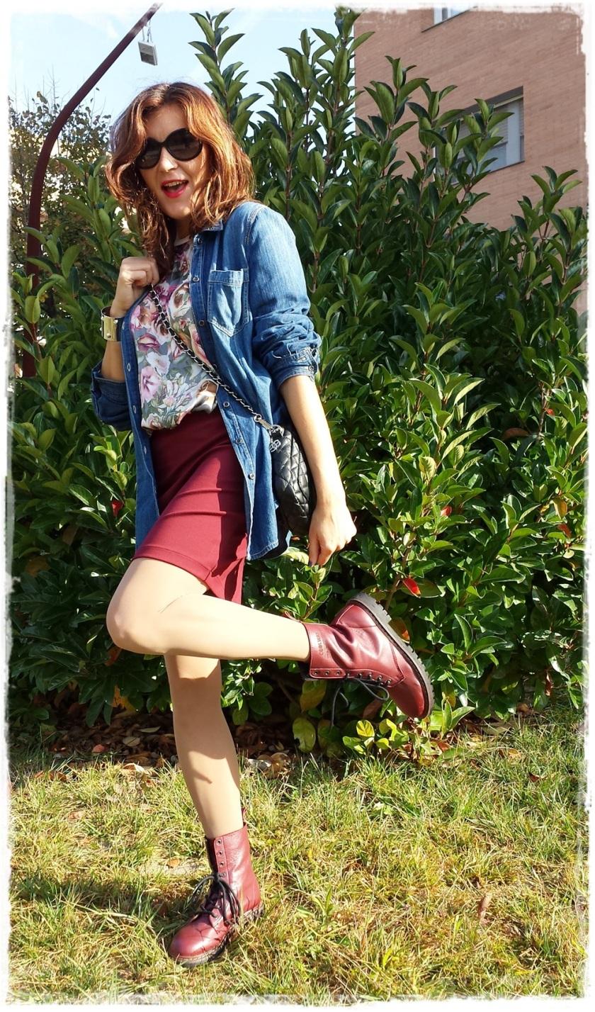 Cuida de ti, cuida tu imagen, Paula Echevarria, It-girl, trendy looks, botas militares Coolplay, falda Silvian heich, blusa Zara, camisa tejana Stradivarius, pulsera H&M, bolso Sfera 6
