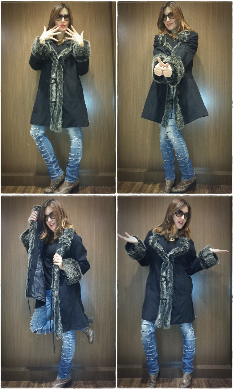 Cuidatuimagen, DIY, customize, jeans, El Corte Inglés, Le Temps du Cerises, chaqueta Vintage, botas Pons Quintana, Capa de pelo