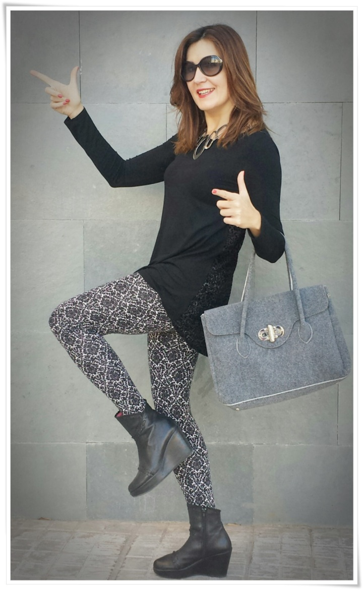 Cuidatuimagen, leggins barrocos, camiseta transparente, bolso Birkin-like; Tezenis; looks, trendy looks, leggins looks