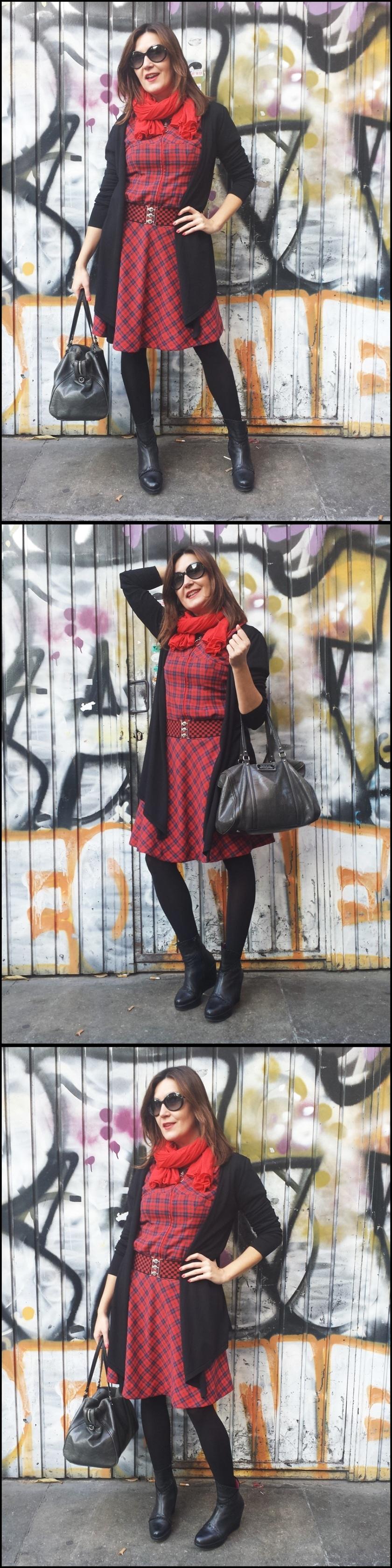Cuidatuimagen;vestido tartan; lostandfound;bolsobimba&lola,cinturón vintage