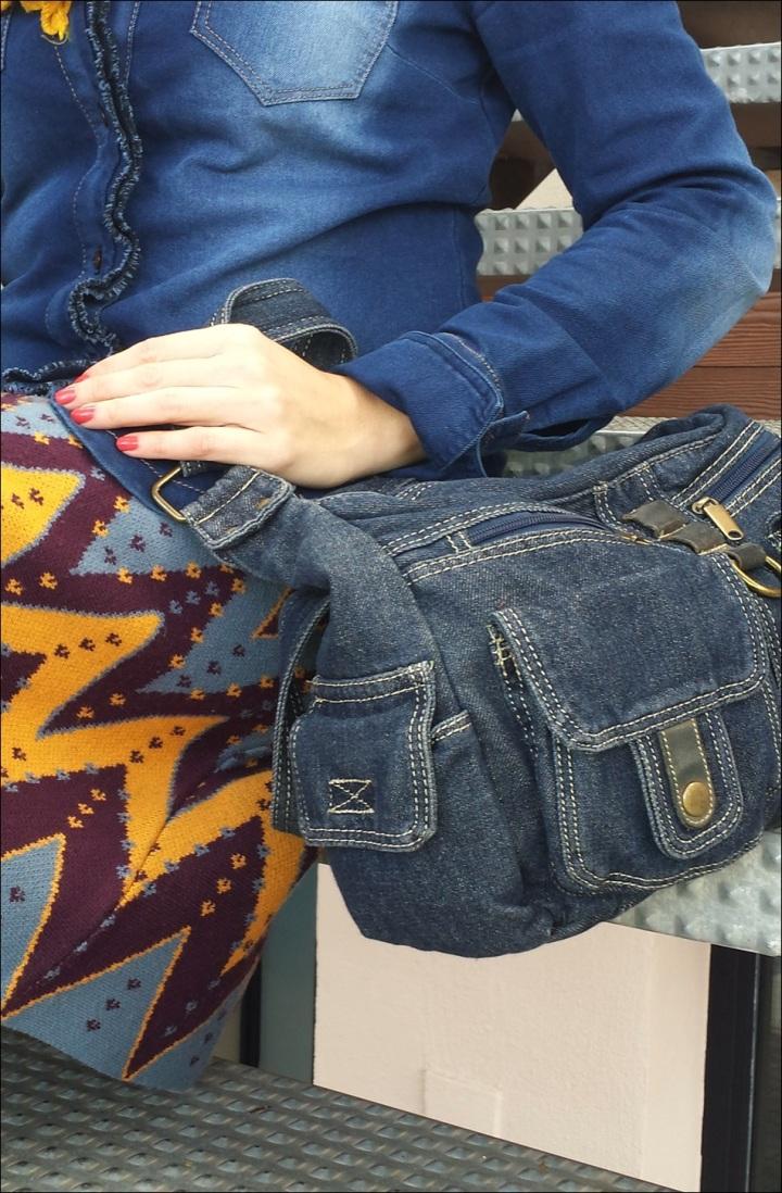 Cuidatuimagen; falda de punto Sfera, camisa tejana, pañuelo Primark, retro-hippie, bolso tejano 8