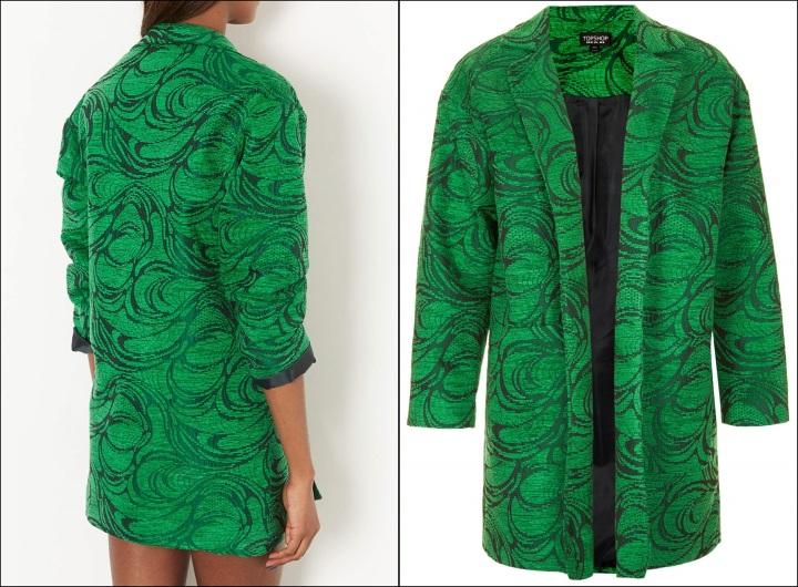 Cuidatuimagen, abrigos vitaminados, abrigos de colores, primavera, abrigo verde Topshop Jacquard  boyfriend jacquet mural