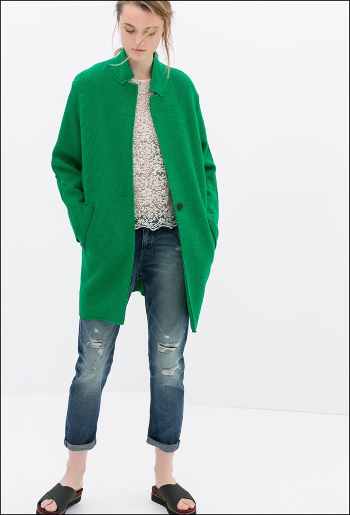 Cuidatuimagen, abrigos vitaminados, abrigos de colores, primavera, abrigo verde Zara