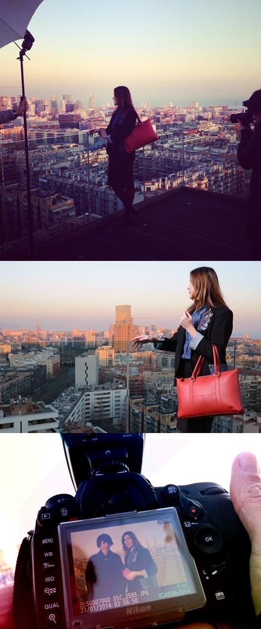 Cuidatuimagen x OeOe handbags, TV, programa Artesanos, grabación Barcelona, terraza, Skyline 2-mural