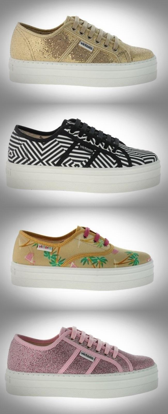 Cuidatuimagen, calzados Victoria, plataformas glitter dorado, Hawaianas, motivos geometricos