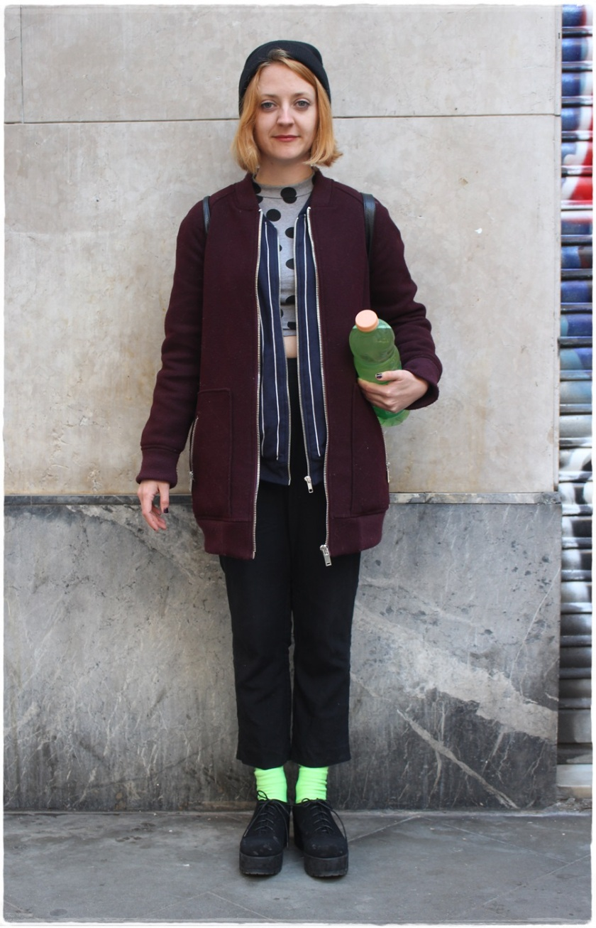 Cuidatuimagen, Street Style, print mix, fluor socks, Raval, Barcelona