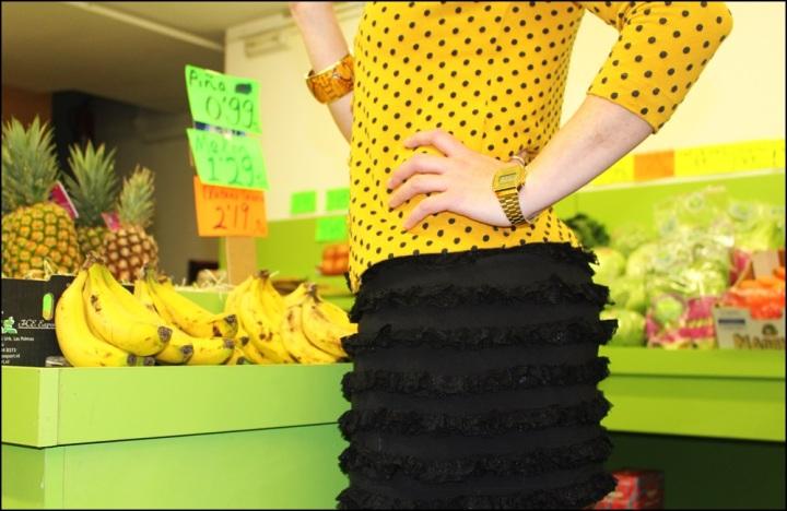 Vestido Studio Classics (El Corte Inglés), Chaqueta Bershka Knitwear, Zapatos Angel Alarcón, Medias Calzedonia, 3