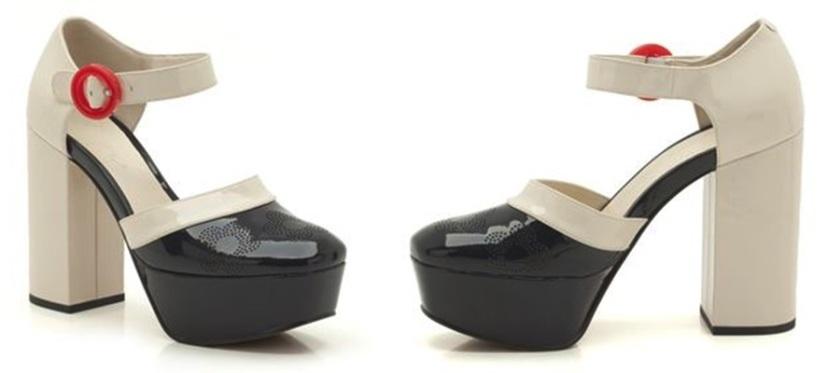 Clarks negro & blanco; colección cápsula de Orla Kiely para la marca de zapatos Clarks; Cuidatuimagen