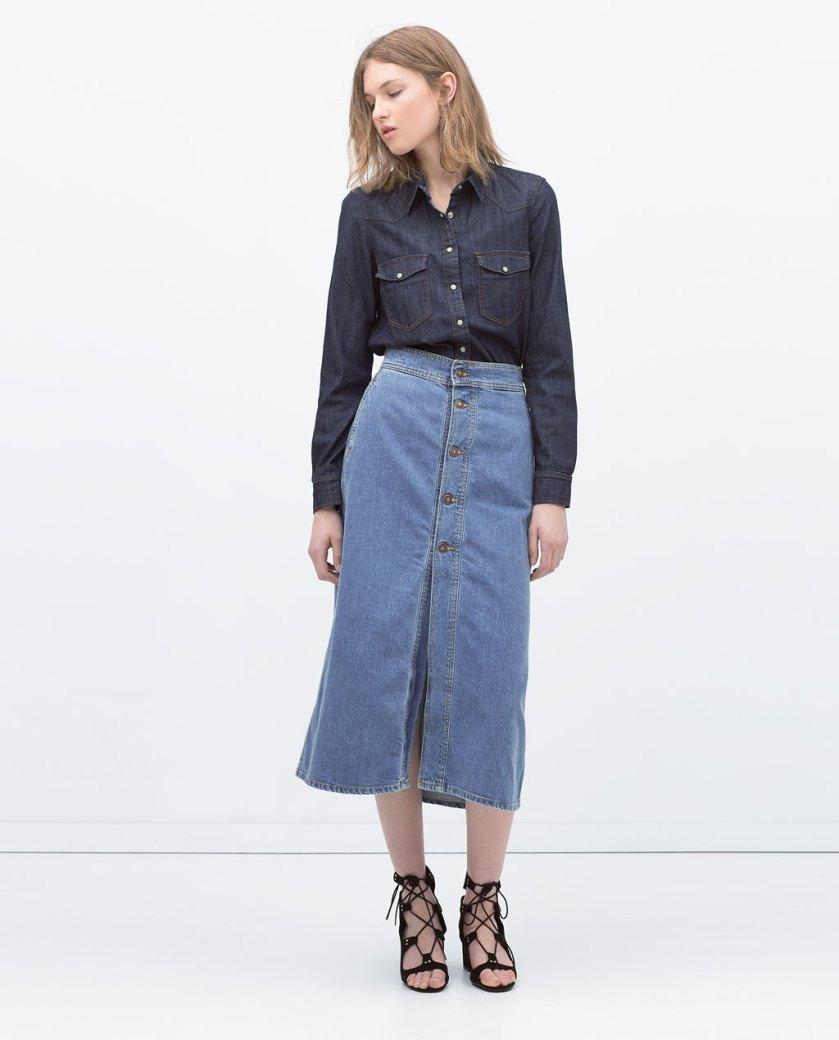 Zara 29,95 (2), Cuida de ti, cuida tu imagen, Tendencias primavera, spring, summer, trends, denim skirt, falda tejana abotonada, street style