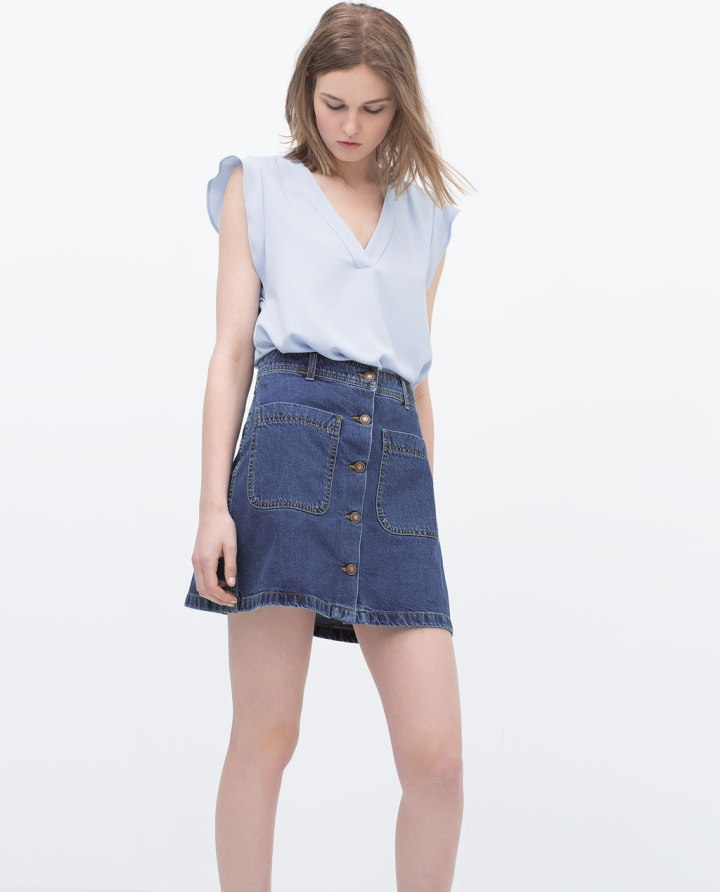 Zara 29,95, Cuida de ti, cuida tu imagen, Tendencias primavera, spring, summer, trends, denim skirt, falda tejana abotonada, street style