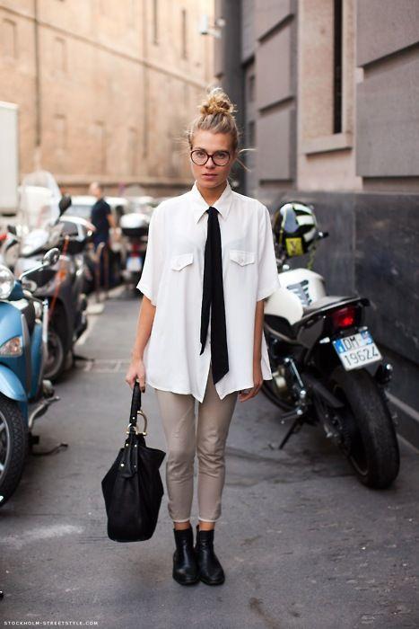 Cuida de ti, cuida tu imagen, Camisa blanca, lazada negra, tendencias otoño invierno SS2015, trends, black or white 68876