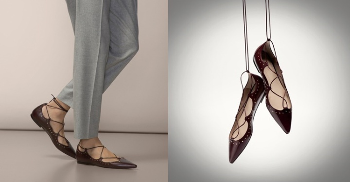 Cuida de ti,cuida tu imagen, bailarinas con cordones, las rompevenas, @MASSIMO DUTI-BAILARINAS GRANATES LAZO