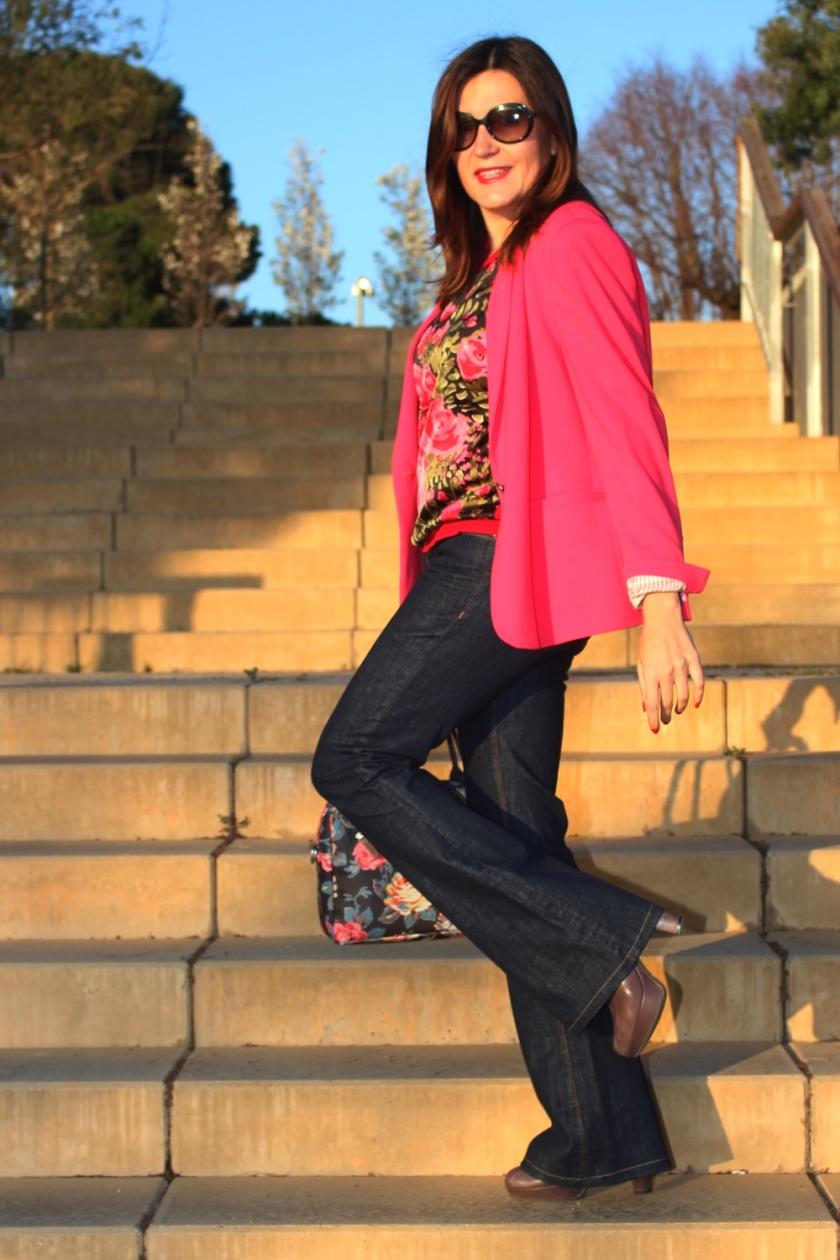Cuida de ti, cuida tu imagen, Americana, blazer, Zara, inditex, fucsia, Flare pants, vintage jumper, bolso Cath Kidston 89