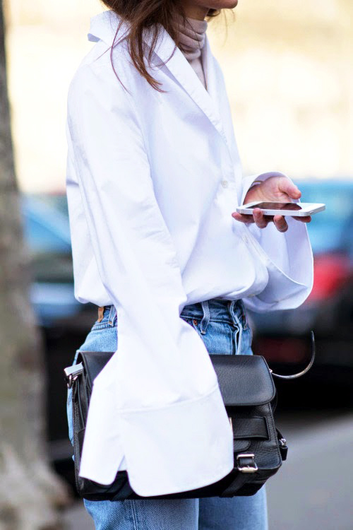 Le-Fashion-Blog-Street-Style-Bell-Flare-Sleeve-White-Acne-Shirt-Black-Proenza-Schouler-PS11-Bag-High-Waist-Jeans-Via-Life-Of-Boheme