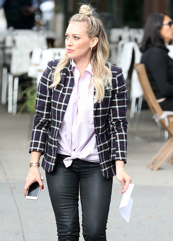 Actress and singer Hilary Duff on the set of TV series 'Younger' filming in New York City, New York on October 29, 2014.