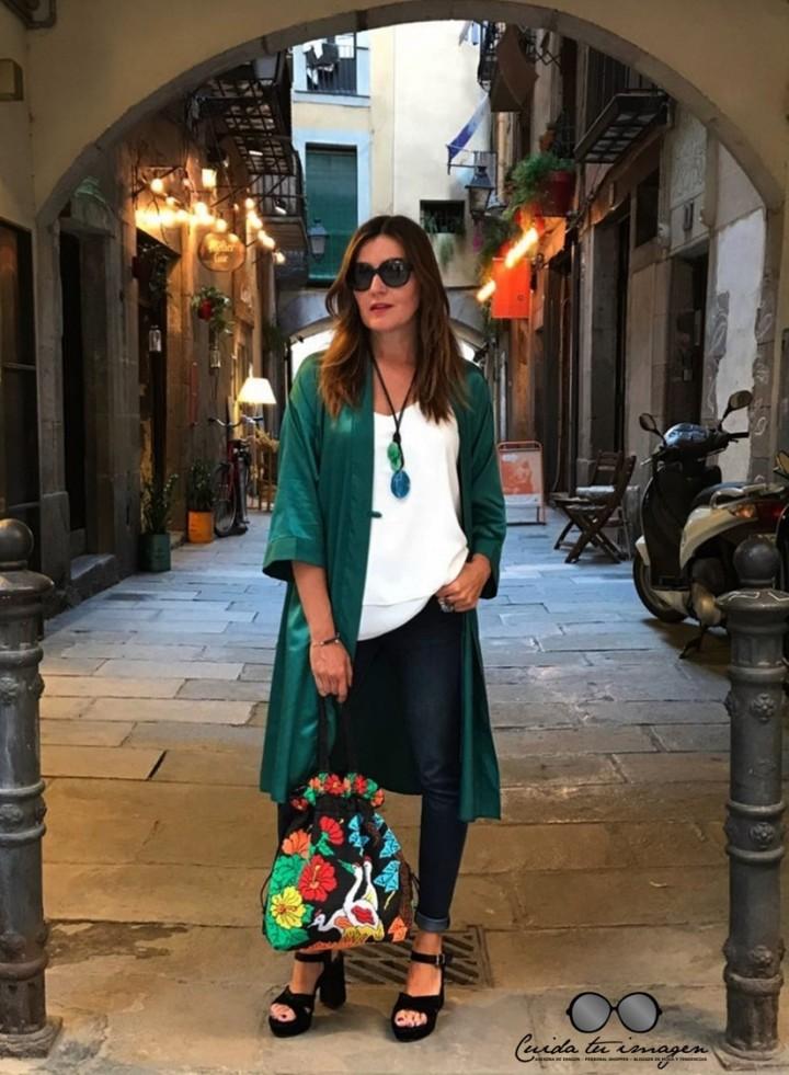 1 - Cuidatuimagen, tendencia kimono, verde esmeralda, vintage, desfile, barcelona, Borne