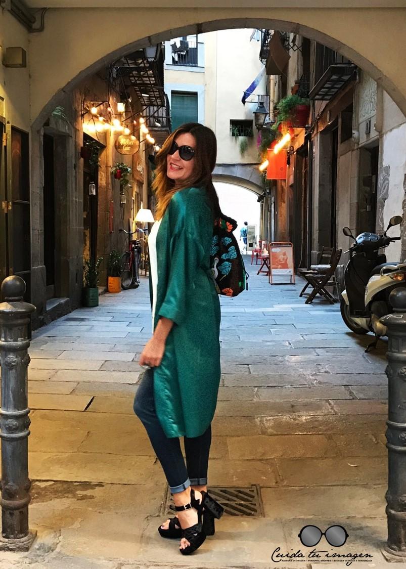 2 - Cuidatuimagen, tendencia kimono, verde esmeralda, vintage, desfile, barcelona, Borne
