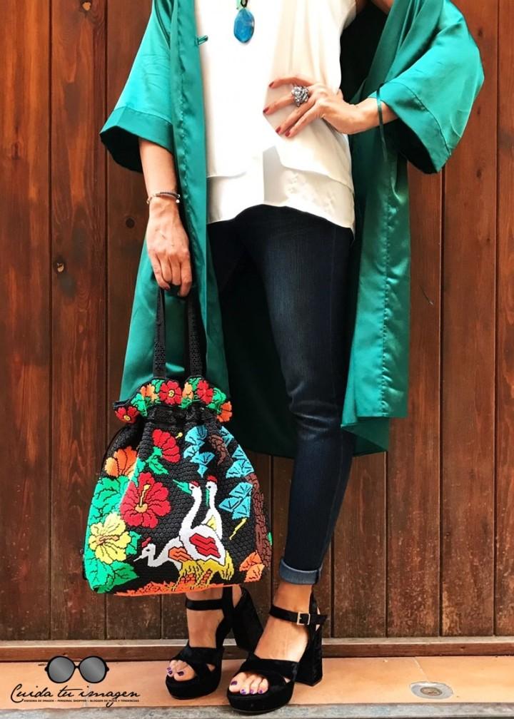 3- Cuidatuimagen, tendencia kimono, verde esmeralda, vintage, desfile, barcelona, Borne