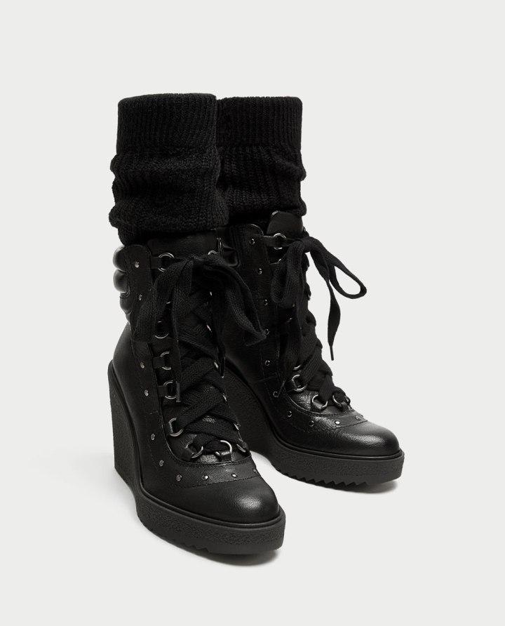 Bota cuña piel atado con calcetín, Cuida tu imagen, Alicia Santiago, Zara, Amancio Céntrate, la tiranía del calcetín, este año todos los zapatos de zara con calcetín,