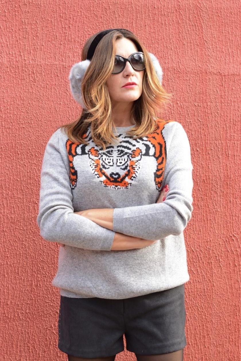 Cuidatuimagen, Jersey gris, Grey, tigre, tigr, organge, orejeras, winter, trends, orejeras, tigre, 3