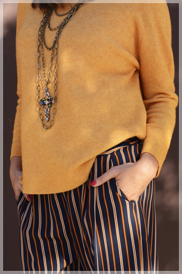 Cuidatuimagen, Polca, Mostaza, Pantalones palazo, multicollar, tendencias, trnds, must have, autumn looks, sweaters, jerseys 2