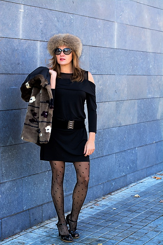 Cuidatuimagen3, look de fin de año, Little Black Dress, Petite robe noire, black, faux fur, pelchito, polca
